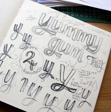 Above briefing notes some early individual letterforms and rough